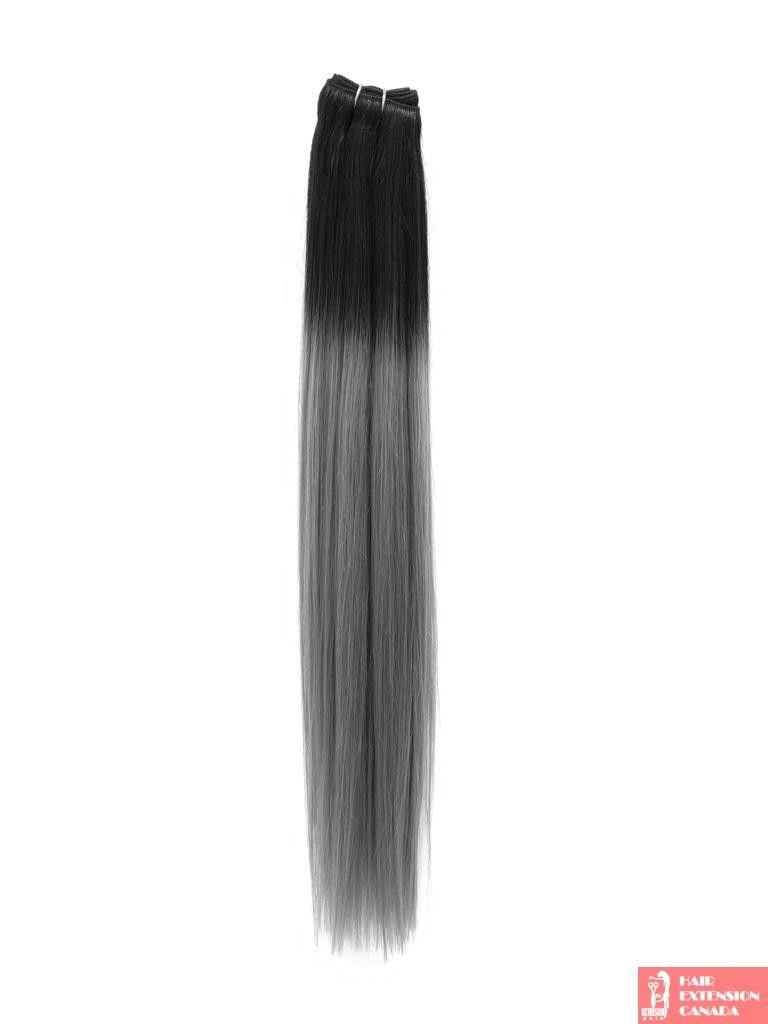 Extensiones californianas Negro - Gris plata
